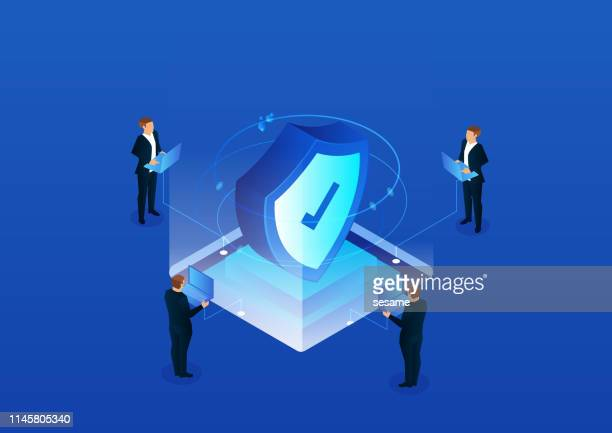 isometric network security technology - shield stock illustrations