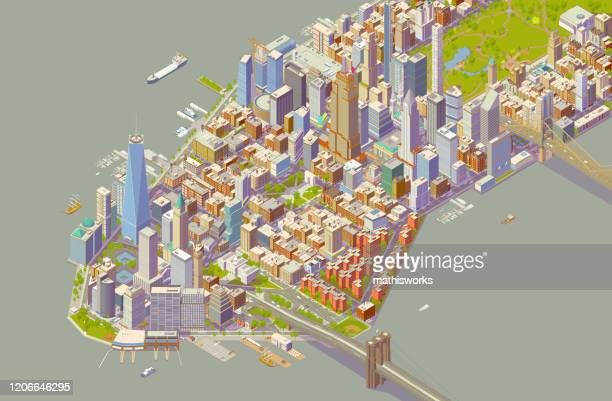 isometric new york bold color - mathisworks stock illustrations