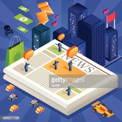 Isometric newspaper city