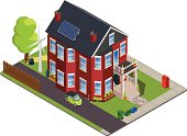 Isometric North American green or eco-friendly home