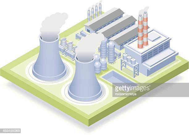 isometric, nuclear plant - radioactive contamination stock illustrations