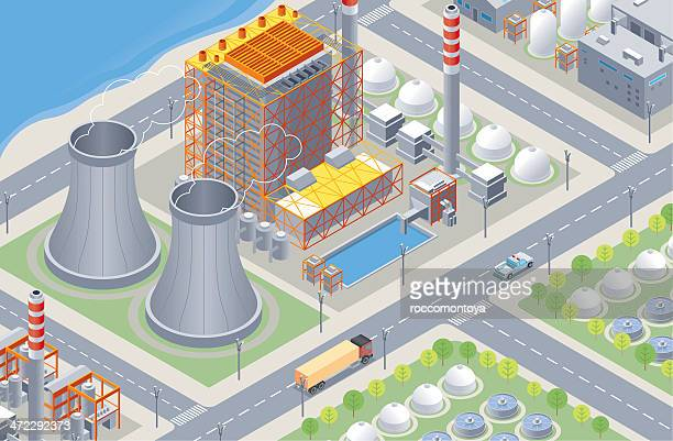 isometric, nuclear plant - nuclear reactor stock illustrations
