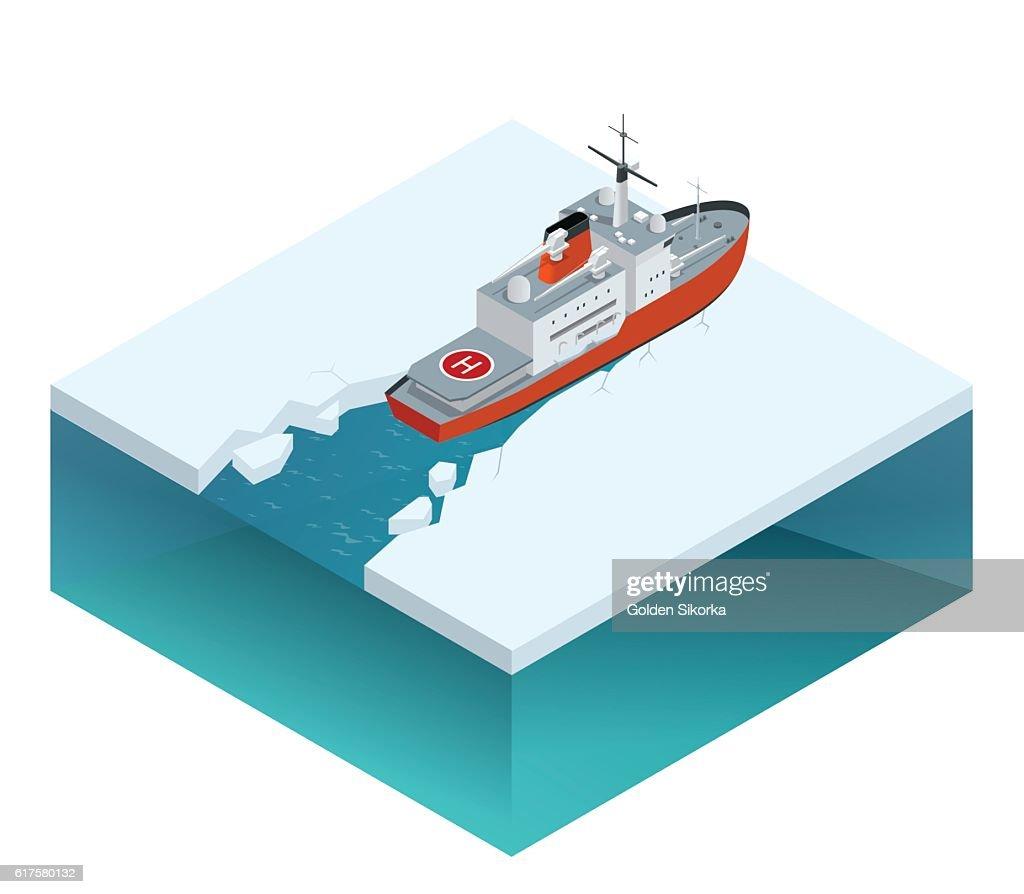 Isometric nuclear-powered icebreaker