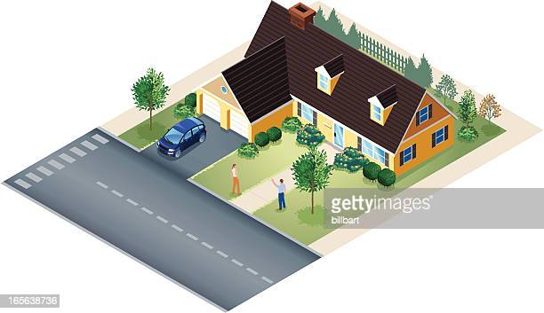 isometric of large bungalow house with people in yard - bungalow stock illustrations, clip art, cartoons, & icons