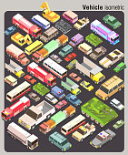 isometric of several land transportation collection vector set