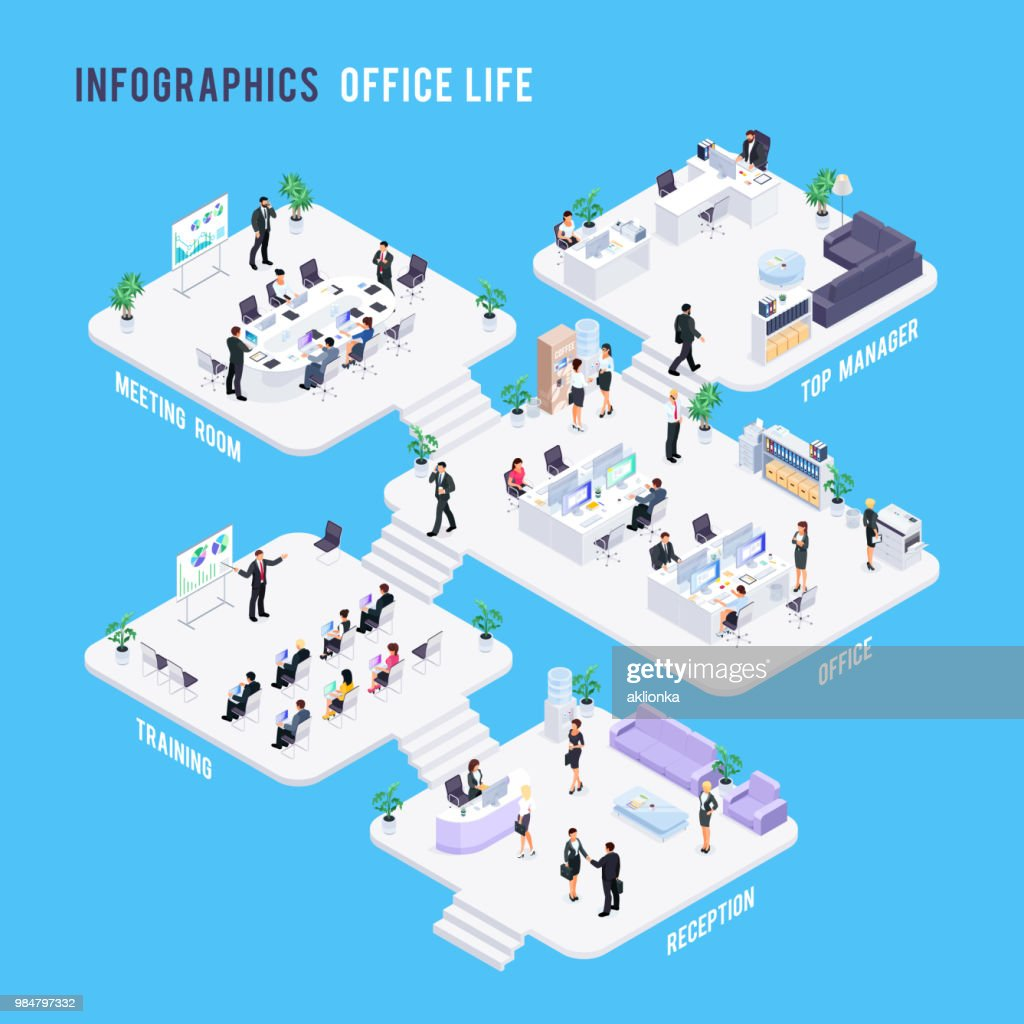 Isometric office concept.