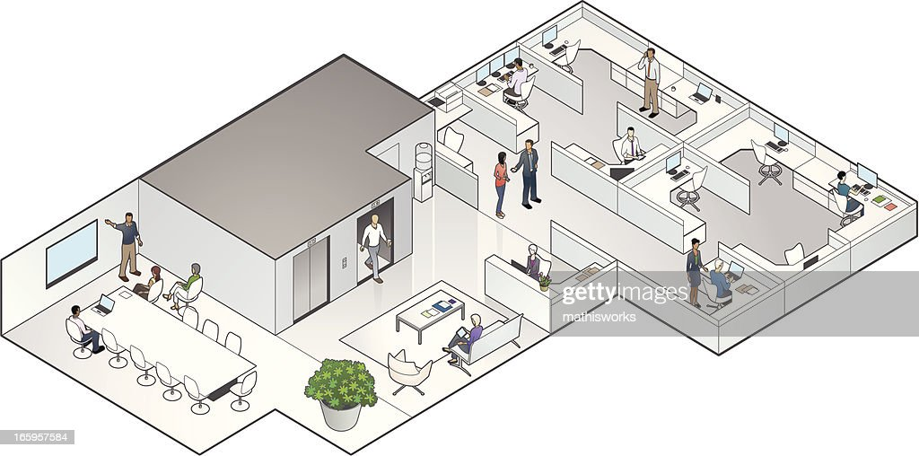 Isometric Office Interior : Vector Art