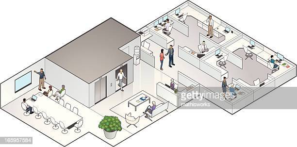 isometric office interior - mathisworks business stock illustrations