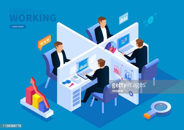 isometric office team work - working stock illustrations