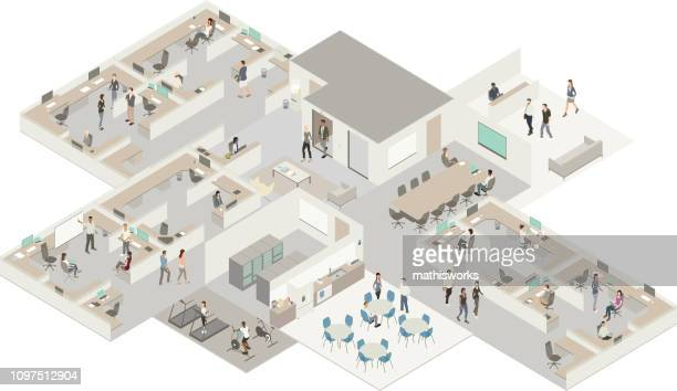 isometric office - mathisworks architecture stock illustrations