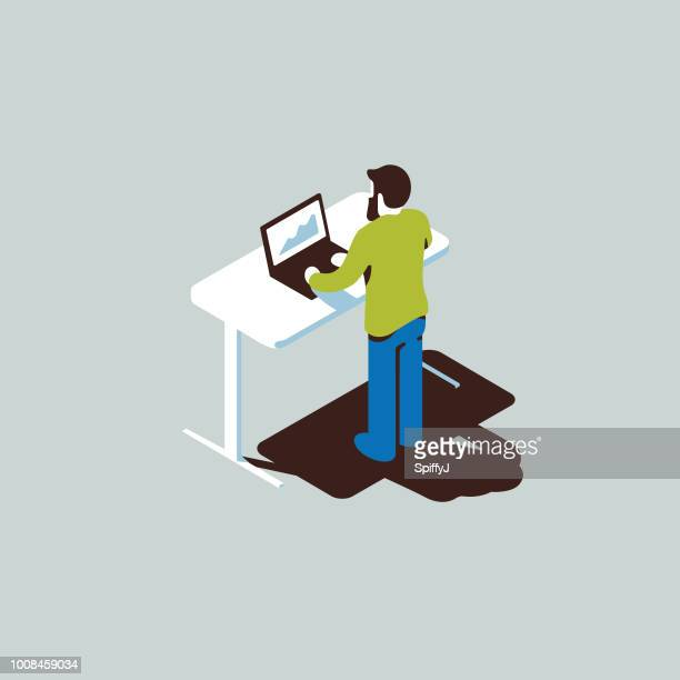isometric office worker - figurine stock illustrations, clip art, cartoons, & icons