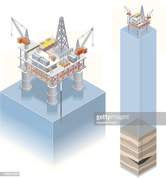 isometric, oil drilling platform - offshore platform stock illustrations, clip art, cartoons, & icons