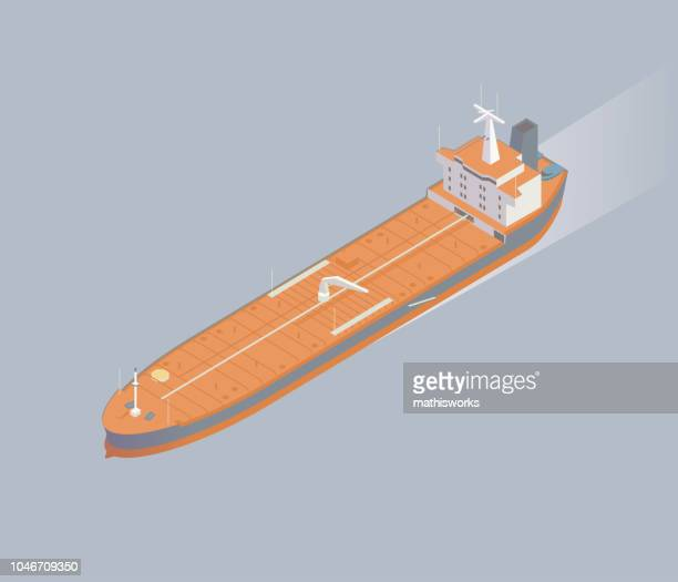 Isometric oil tanker ship illustration