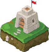 Isometric Old Castle Fort Icon.