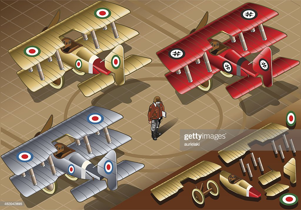 Isometric Old Vintage Biplanes in Rear View
