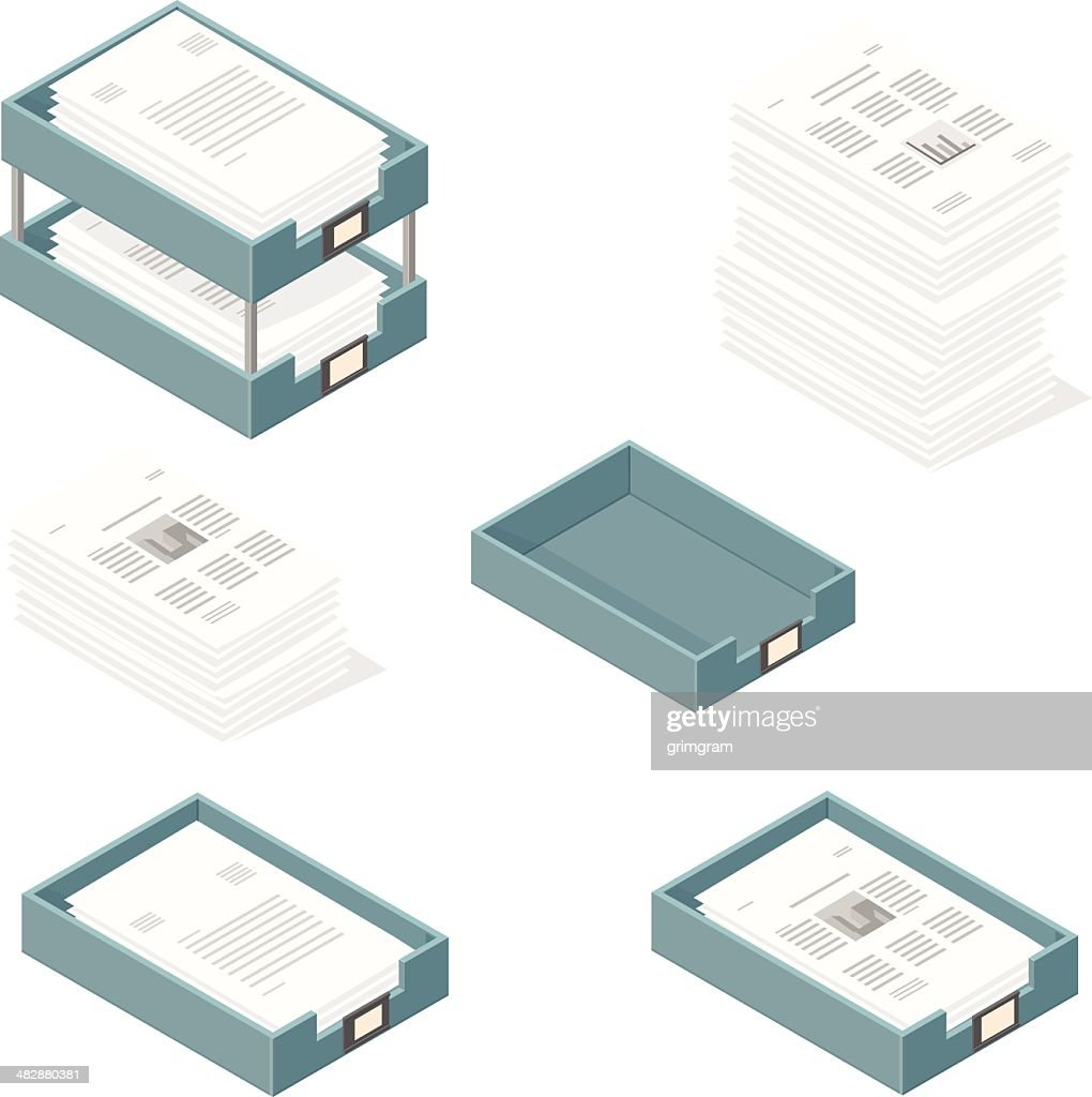 Isometric Outbox and Inbox Trays with Paper Documents