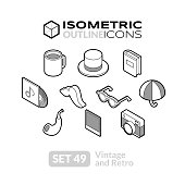 Isometric outline icons set 49