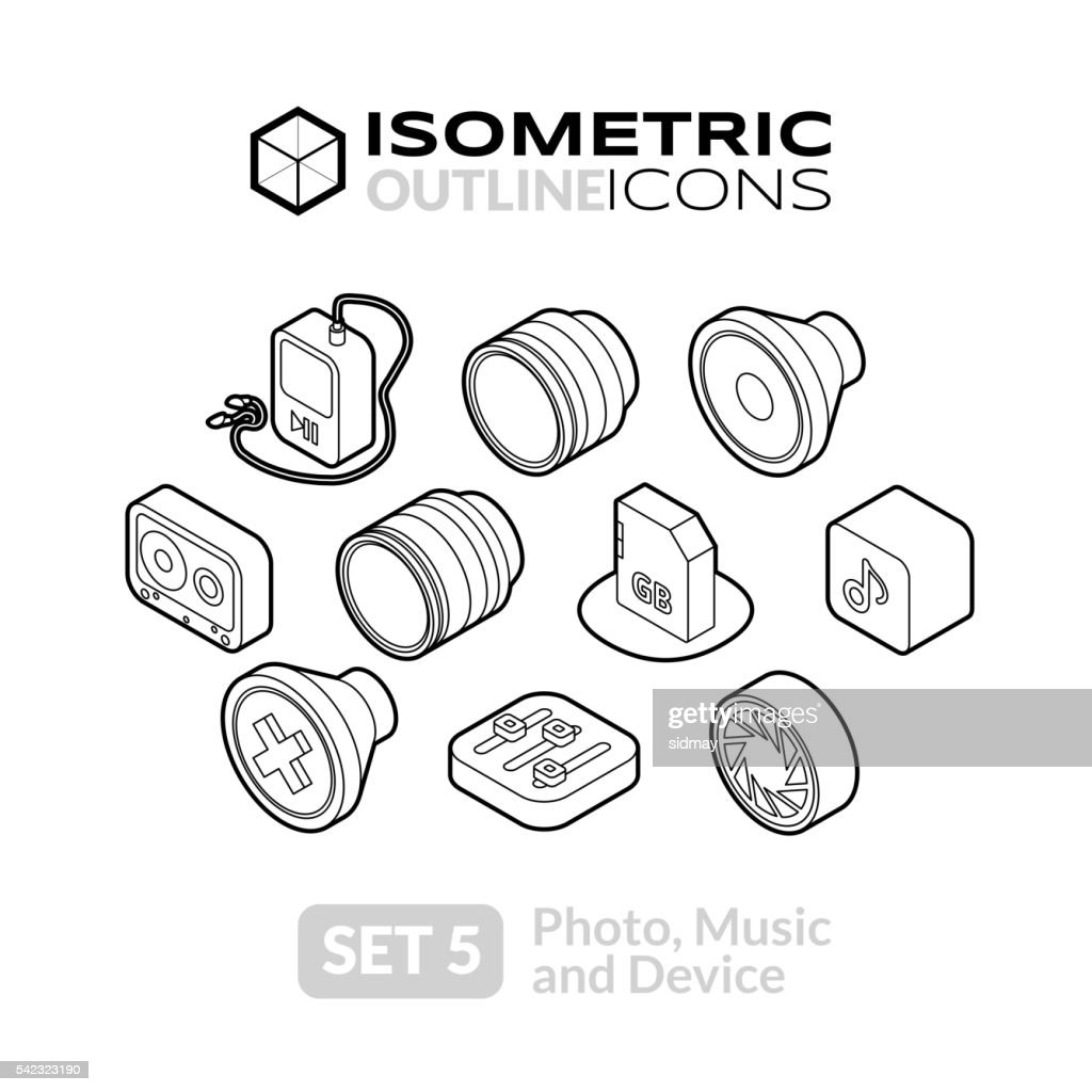 Isometric outline icons set 5