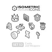 Isometric outline icons set 53