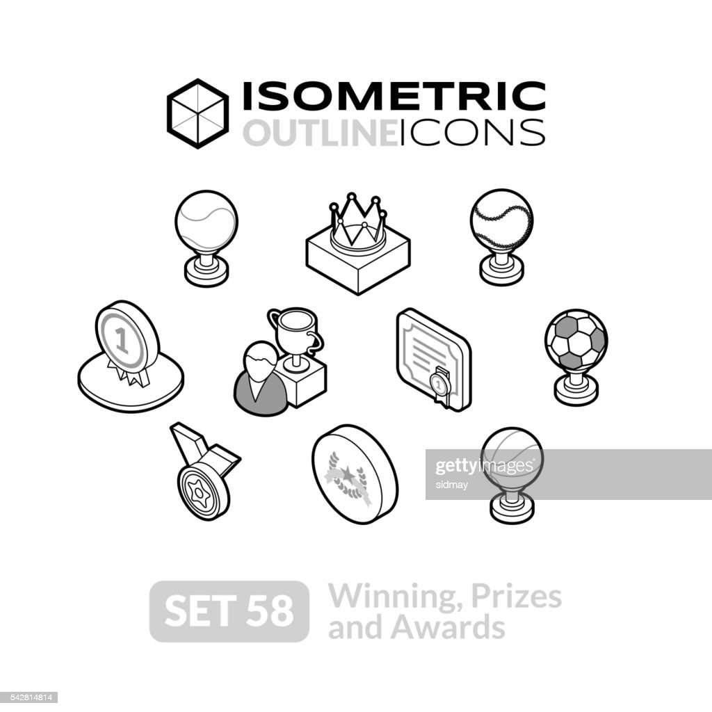 Isometric outline icons set 58