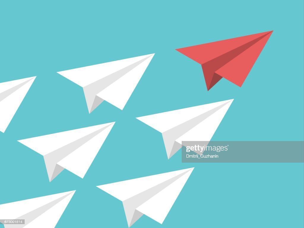 Isometric paper plane, leadership