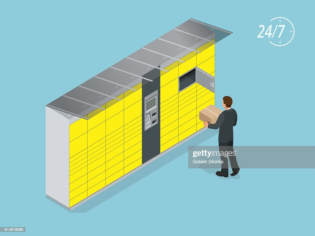 Isometric Parcel Delivery Lockers