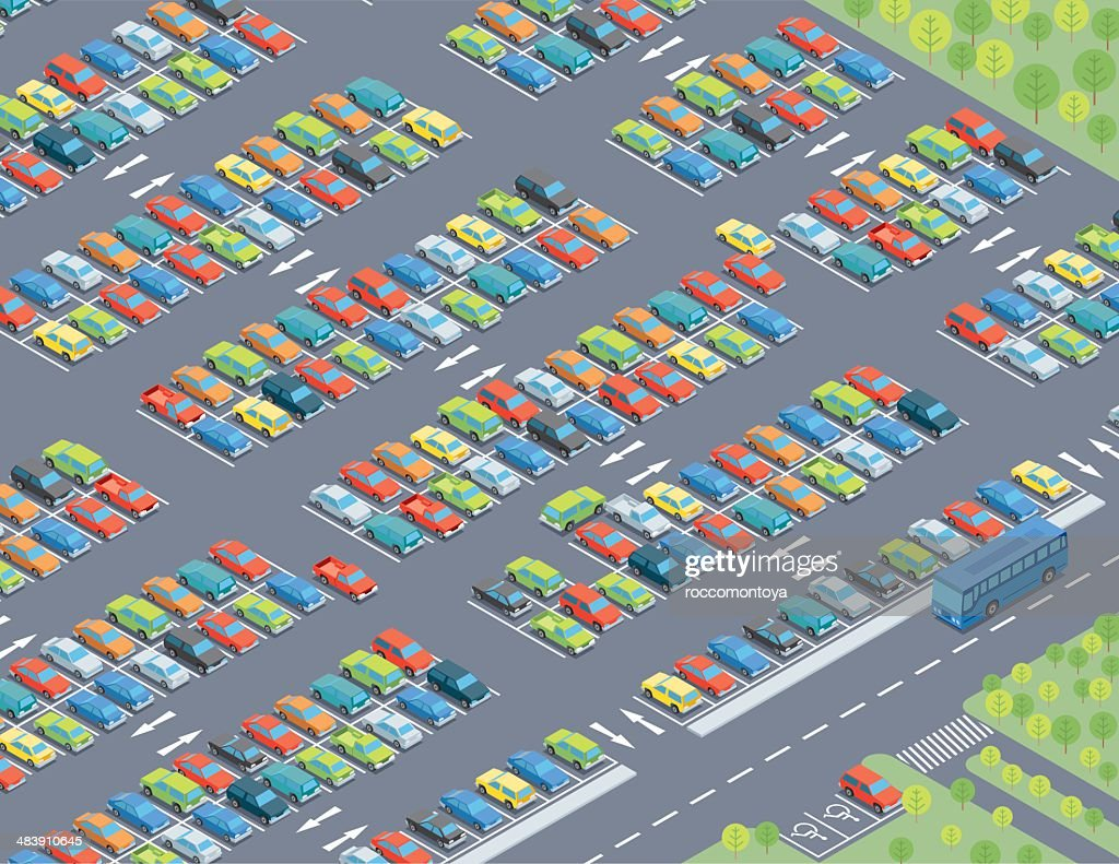 Isometric, Parking Lot : stock illustration