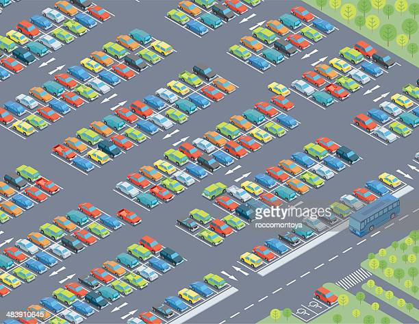 isometric, parking lot - parking sign stock illustrations