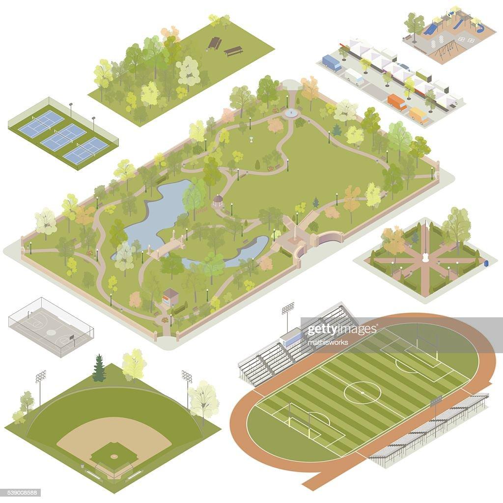 Isométricos parques medio : Ilustración de stock