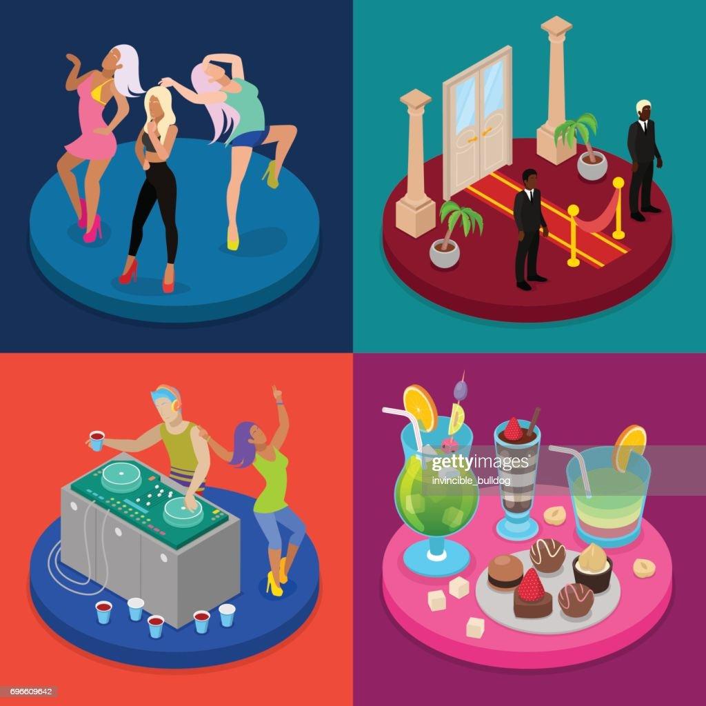 Isometric Party Concept. Night Club, Disco DJ