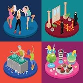 Isometric Party Concept. Night Club, Disco DJ