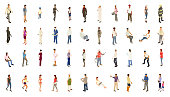 Isometric people bold color