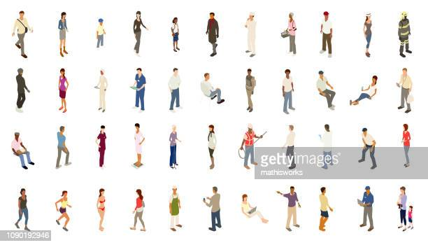 isometric people bold color - professional occupation stock illustrations
