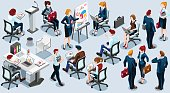 Isometric People Business Train Icon 3D Set Vector Illustration