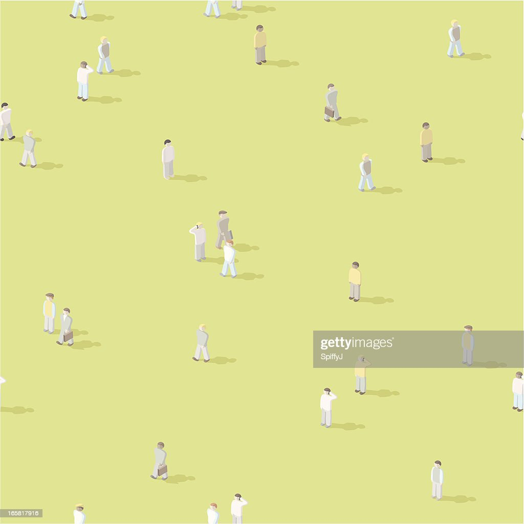 Isometric people crowd, seamless