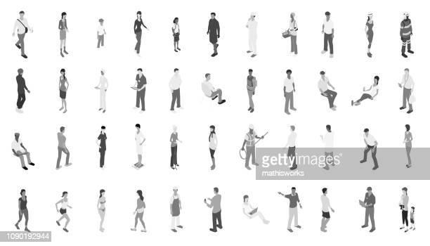 isometrische menschen graustufen - graustufe stock-grafiken, -clipart, -cartoons und -symbole