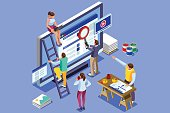 Isometric people images seo illustrations