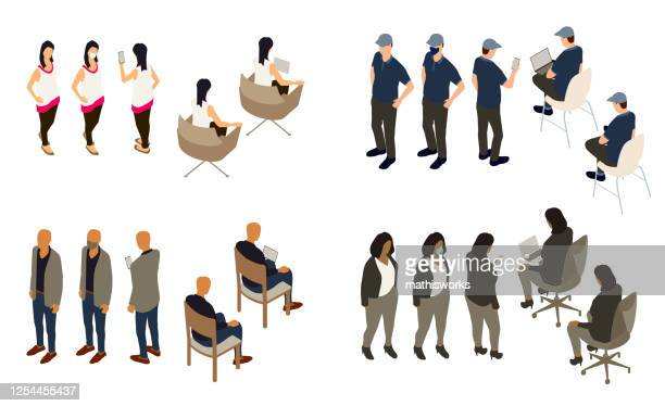 isometric people in different poses - mathisworks stock illustrations