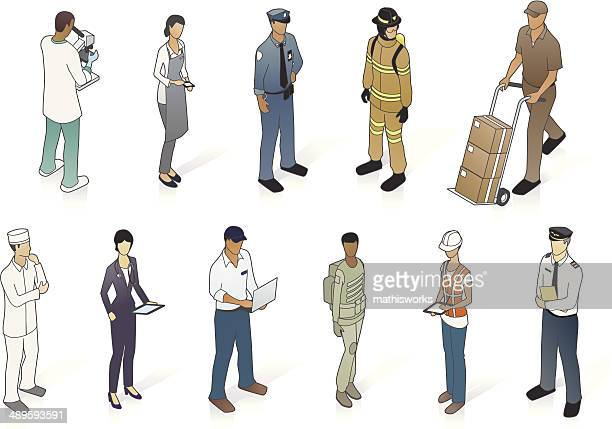 isometric people in uniform - mathisworks vehicles stock illustrations