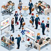 Isometric People Infographic 3D Icon Set Vector Illustration