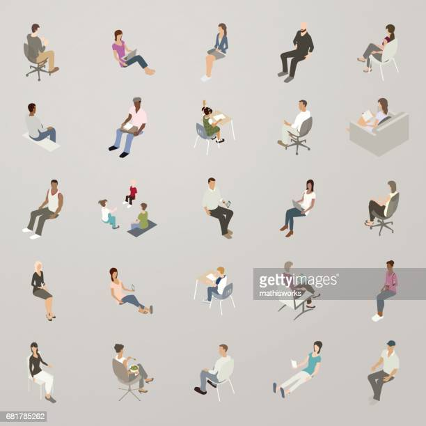 isometric people sitting - sitting stock illustrations