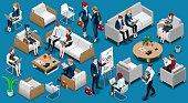 Isometric People Team Work 3D Icon Set Vector Illustration
