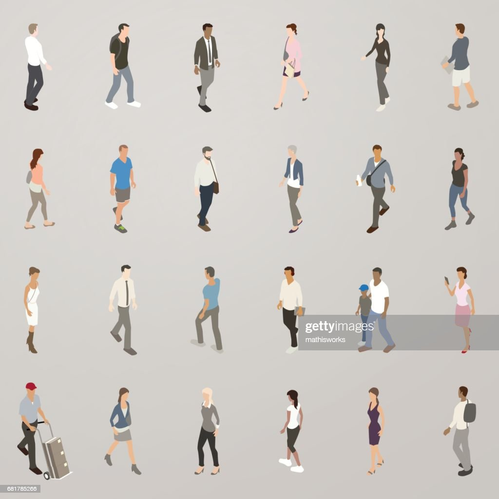 Isometric People Walking : Vector Art