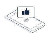 Isometric phone and banner with thumbs up isolated on white background. Isometric line art. Vector