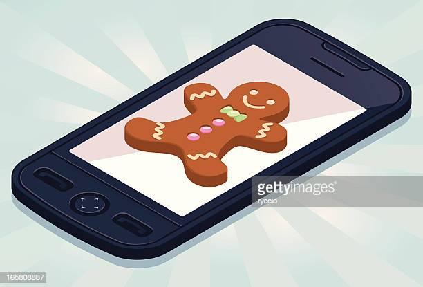 ilustraciones, imágenes clip art, dibujos animados e iconos de stock de isométricos teléfono con hombre de jengibre - sistema operativo