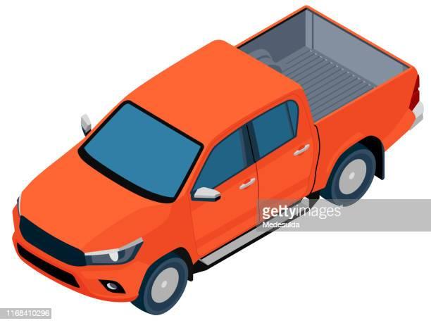 isometric pickup vector - truck stock illustrations