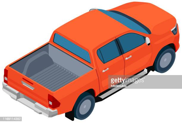 isometric pickup vector - commercial land vehicle stock illustrations