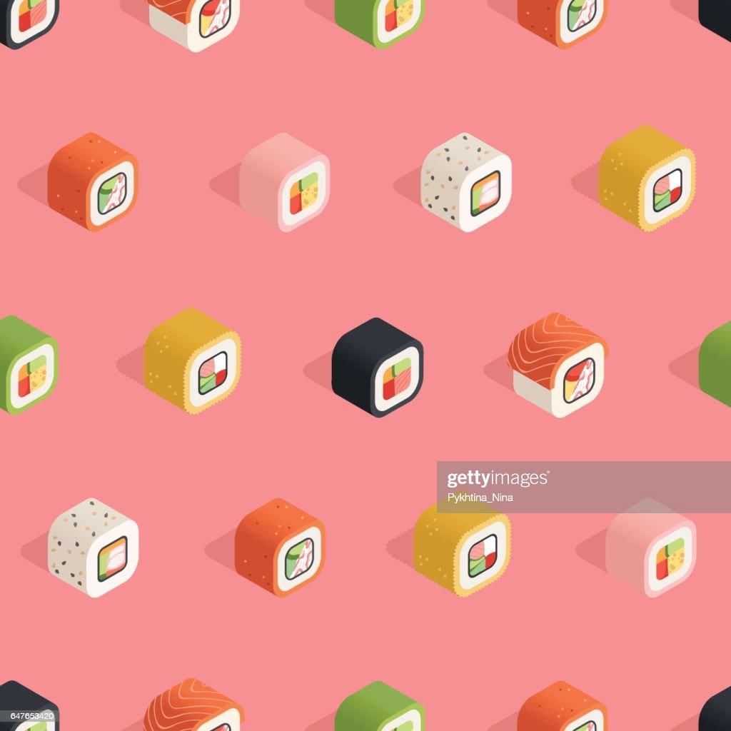 Isometric pink sushi pattern