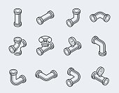 Isometric pipes, fittings, valve and meters vector icon set in thin line style