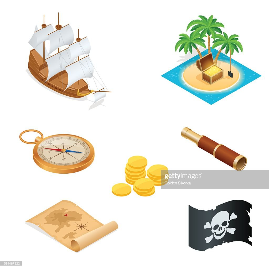 Isometric Pirate accessories flat icons. Collection with wooden treasure chest